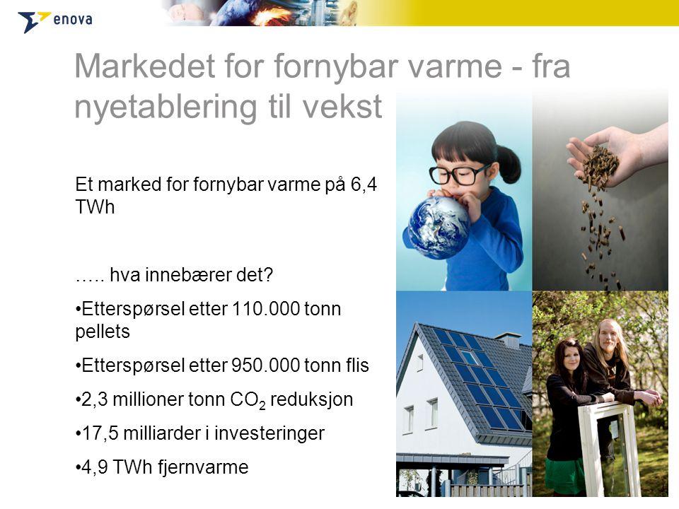 Markedet for fornybar varme - fra nyetablering til vekst Et marked for fornybar varme på 6,4 TWh …..