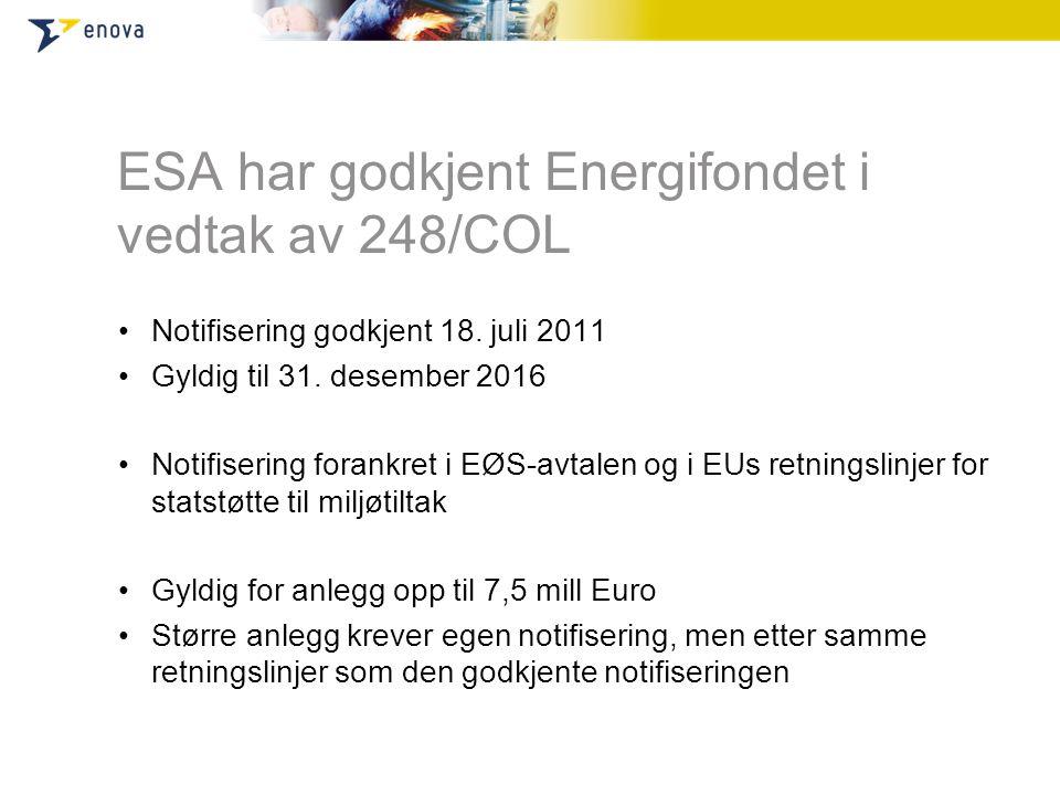 ESA har godkjent Energifondet i vedtak av 248/COL •Notifisering godkjent 18.