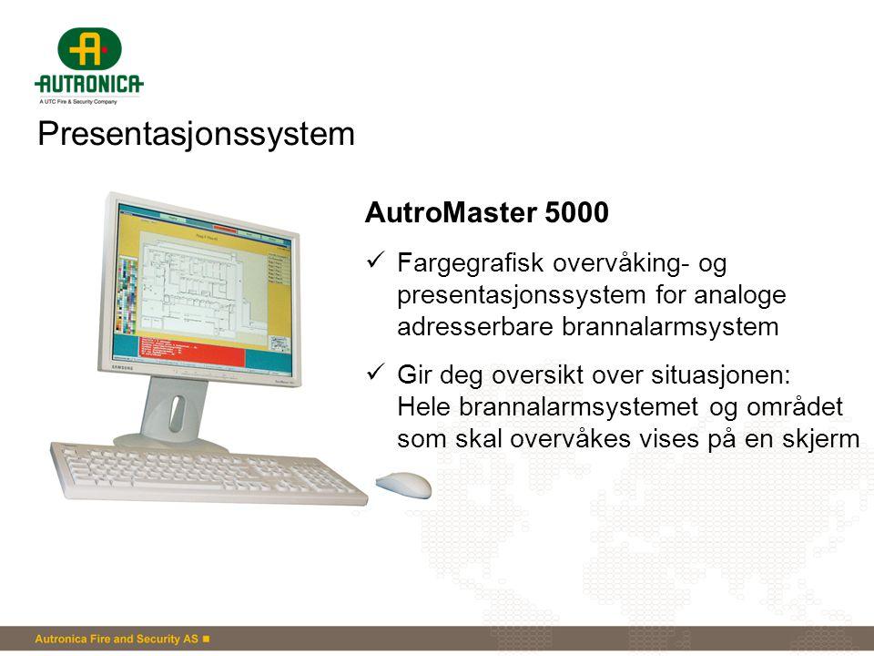 Presentasjonssystem AutroMaster 5000  Fargegrafisk overvåking- og presentasjonssystem for analoge adresserbare brannalarmsystem  Gir deg oversikt ov