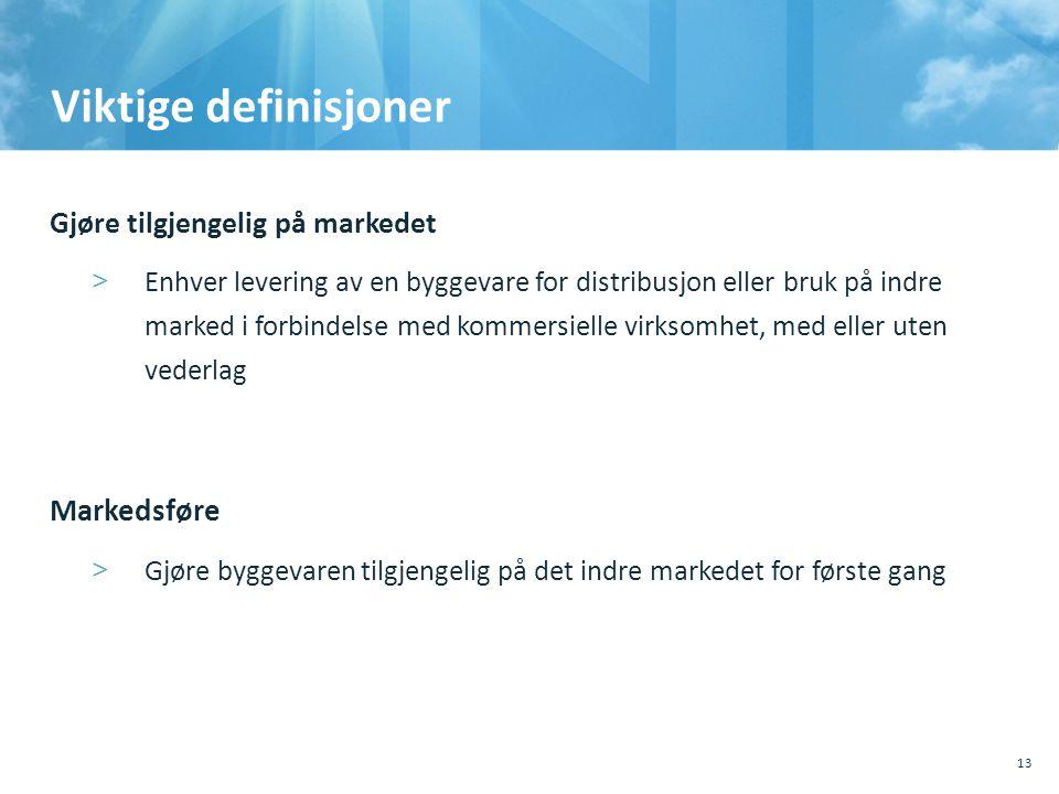Viktige definisjoner Gjøre tilgjengelig på markedet >Enhver levering av en byggevare for distribusjon eller bruk på indre marked i forbindelse med ko