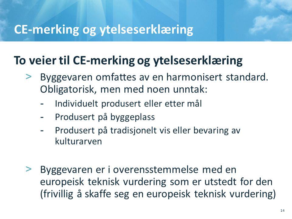 CE-merking og ytelseserklæring To veier til CE-merking og ytelseserklæring >Byggevaren omfattes av en harmonisert standard. Obligatorisk, men med noen