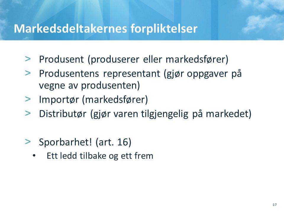 Markedsdeltakernes forpliktelser >Produsent (produserer eller markedsfører) >Produsentens representant (gjør oppgaver på vegne av produsenten) >Import