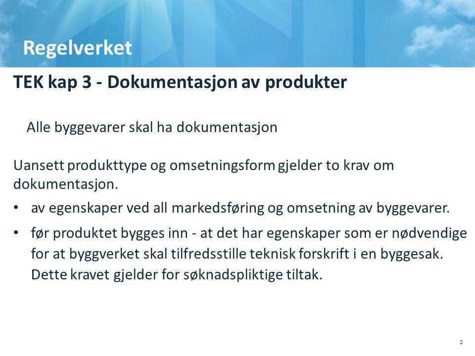 Regelverket TEK kap 3 - Dokumentasjon av produkter Alle byggevarer skal ha dokumentasjon Uansett produkttype og omsetningsform gjelder to krav om dok