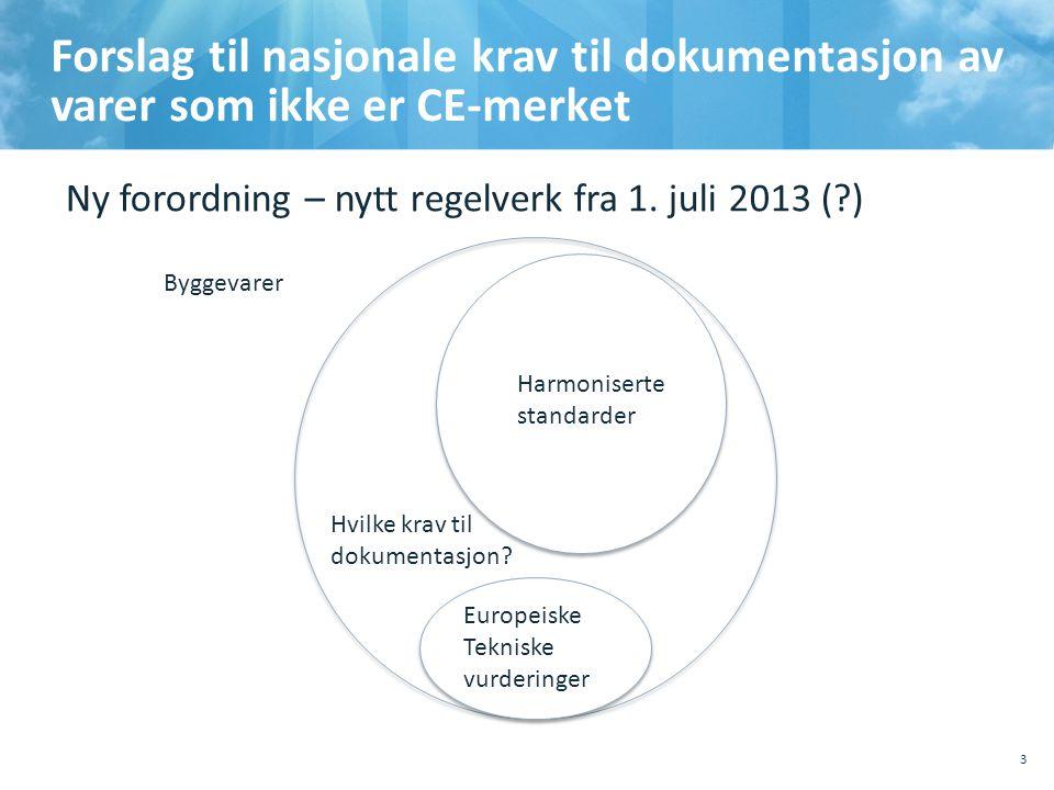 Forslag til nasjonale krav til dokumentasjon av varer som ikke er CE-merket 10.10.201110.10.2011, Sted, tema, Sted, tema 3 HH Harmoniserte standarder