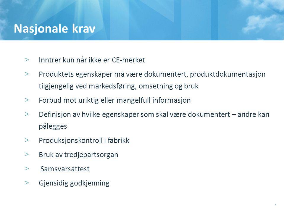 Nasjonale krav >Inntrer kun når ikke er CE-merket >Produktets egenskaper må være dokumentert, produktdokumentasjon tilgjengelig ved markedsføring, oms
