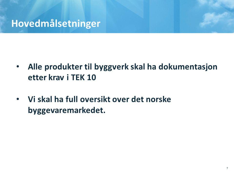 Hovedmålsetninger 7 • Alle produkter til byggverk skal ha dokumentasjon etter krav i TEK 10 • Vi skal ha full oversikt over det norske byggevaremarked