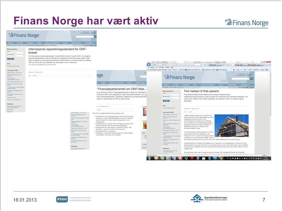 Finans Norge har vært aktiv 16.01.20137