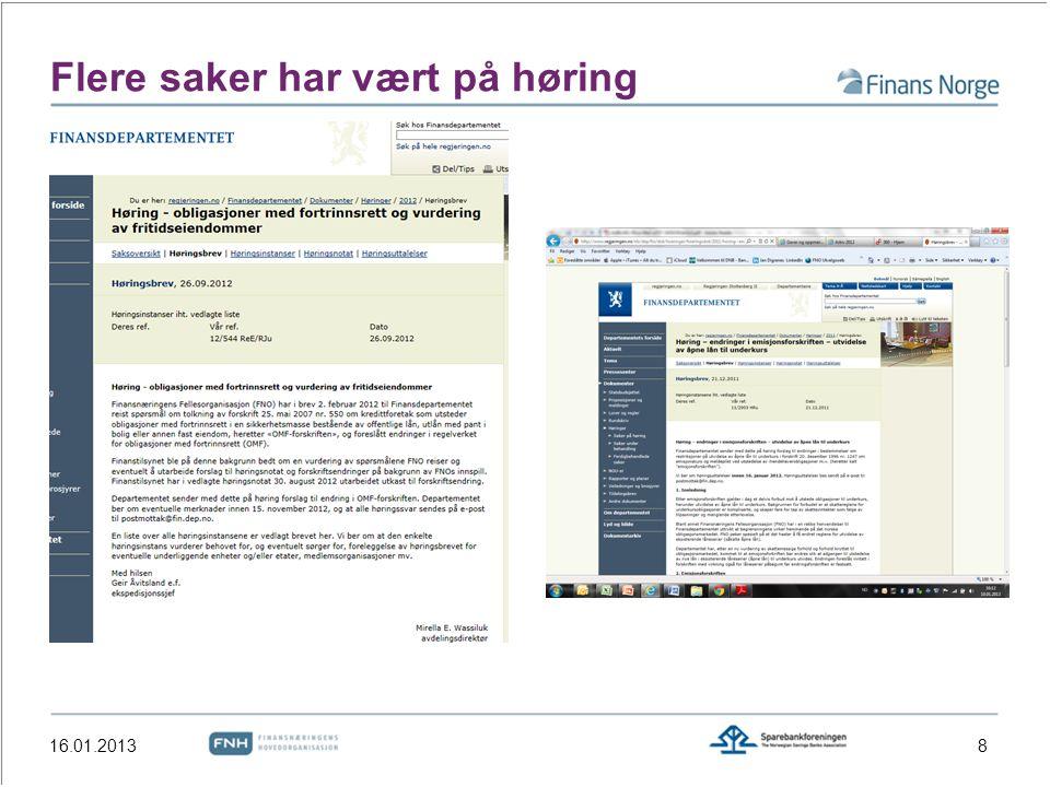 Flere saker har vært på høring 16.01.20138