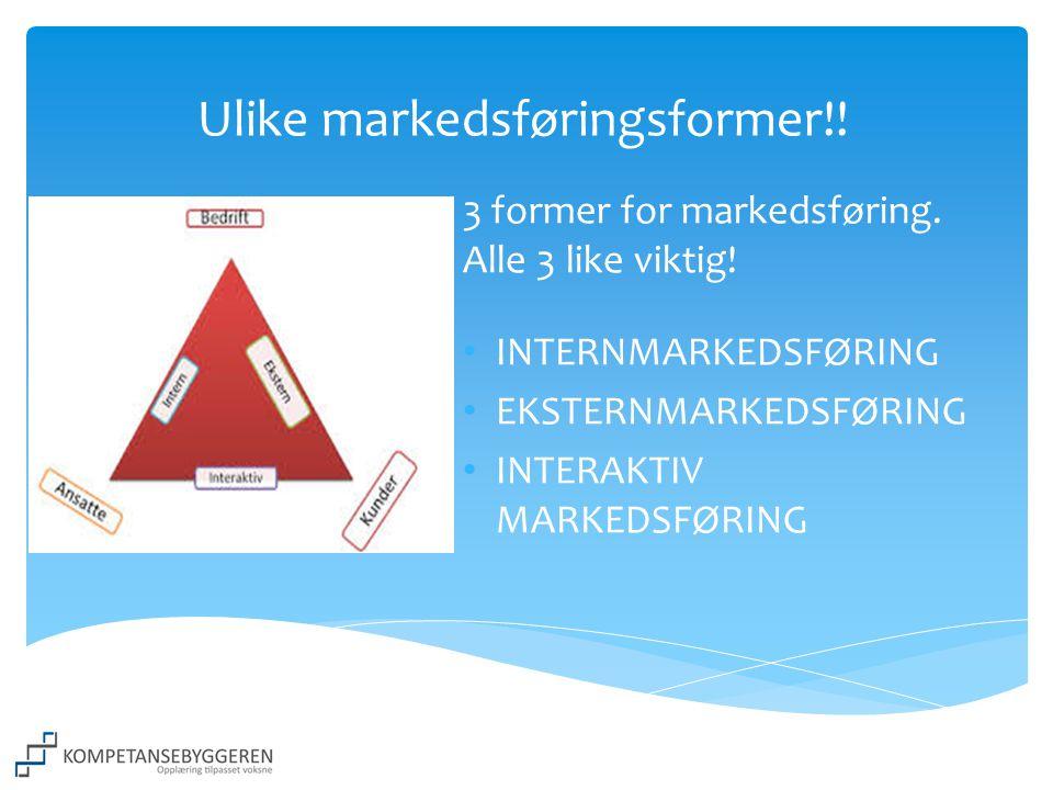 Ulike markedsføringsformer!! 3 former for markedsføring. Alle 3 like viktig! • INTERNMARKEDSFØRING • EKSTERNMARKEDSFØRING • INTERAKTIV MARKEDSFØRING