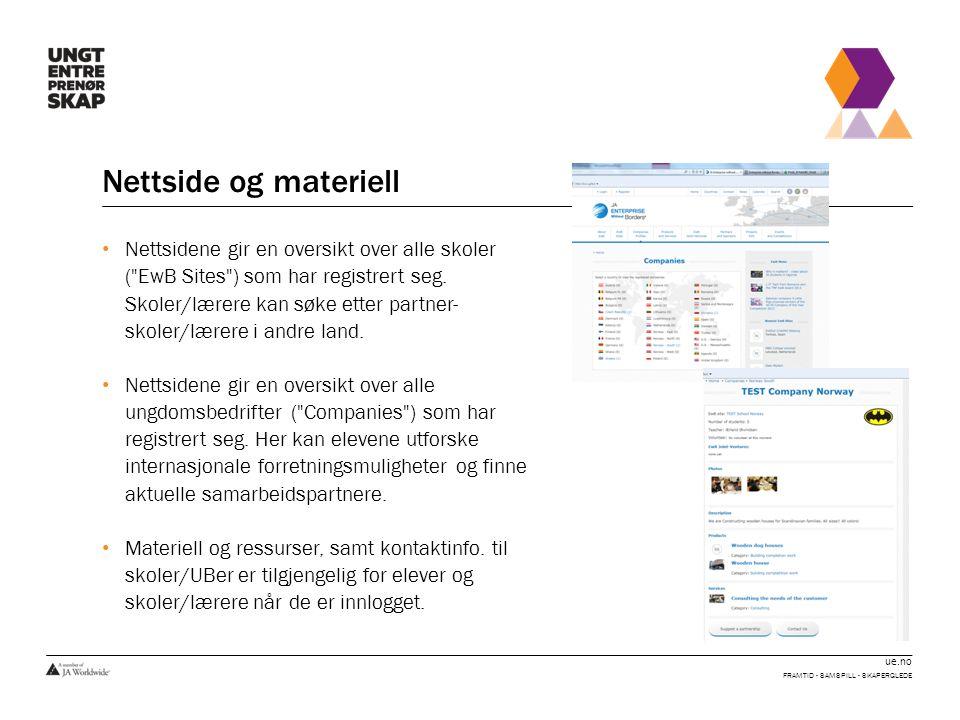ue.no Nettside og materiell • Nettsidene gir en oversikt over alle skoler ( EwB Sites ) som har registrert seg.
