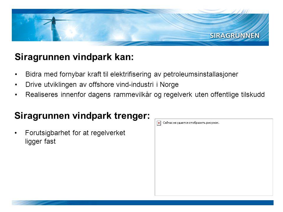 Siragrunnen vindpark kan: •Bidra med fornybar kraft til elektrifisering av petroleumsinstallasjoner •Drive utviklingen av offshore vind-industri i Nor