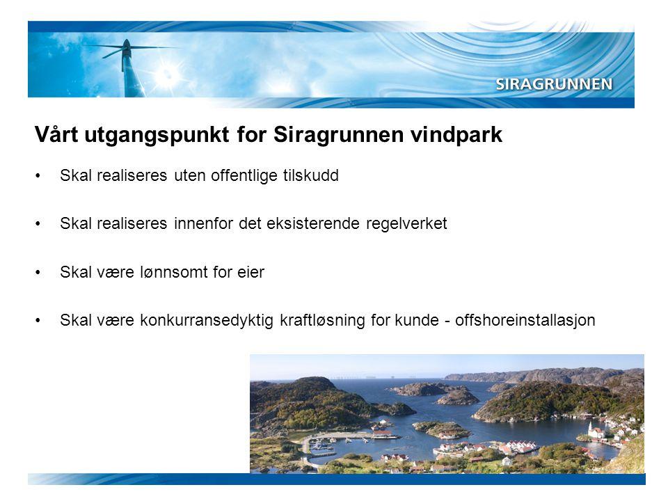 Vårt utgangspunkt for Siragrunnen vindpark •Skal realiseres uten offentlige tilskudd •Skal realiseres innenfor det eksisterende regelverket •Skal være