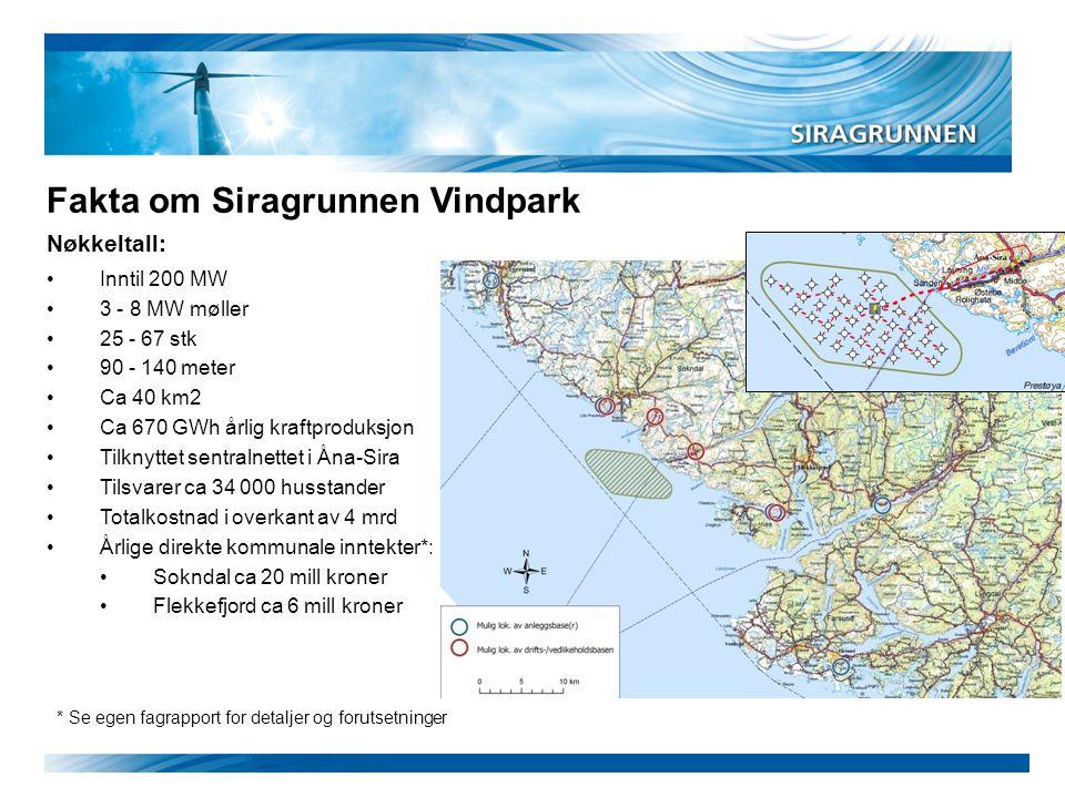 Nøkkeltall: Fakta om Siragrunnen Vindpark * Se egen fagrapport for detaljer og forutsetninger •Inntil 200 MW •3 - 8 MW møller •25 - 67 stk •90 - 140 m