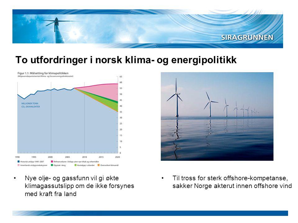 To utfordringer i norsk klima- og energipolitikk •Nye olje- og gassfunn vil gi økte klimagassutslipp om de ikke forsynes med kraft fra land •Til tross