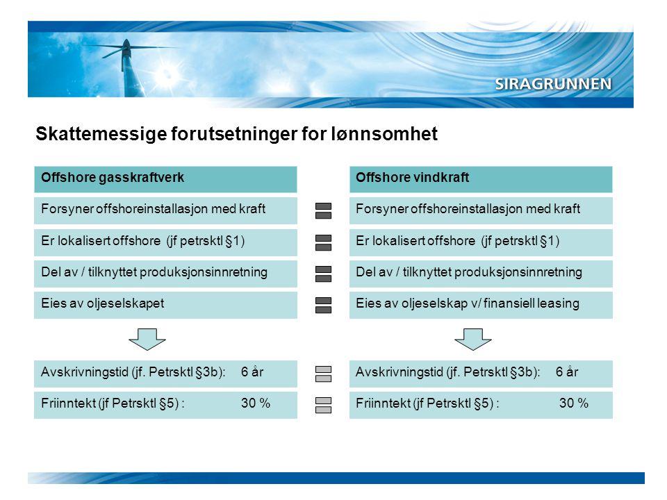 Skattemessige forutsetninger for lønnsomhet Forsyner offshoreinstallasjon med kraft Er lokalisert offshore (jf petrsktl §1) Eies av oljeselskapet Avsk