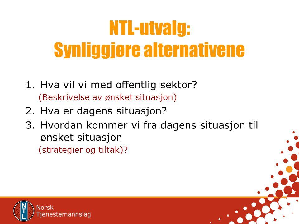 NTL-utvalg: Synliggjøre alternativene 1.Hva vil vi med offentlig sektor? (Beskrivelse av ønsket situasjon) 2.Hva er dagens situasjon? 3.Hvordan kommer