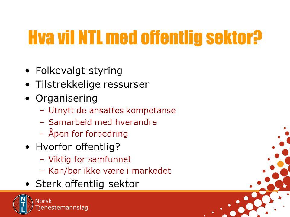 Hva vil NTL med offentlig sektor? •Folkevalgt styring •Tilstrekkelige ressurser •Organisering –Utnytt de ansattes kompetanse –Samarbeid med hverandre