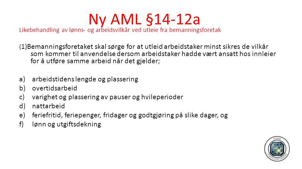 Ny AML §14-12a Likebehandling av lønns- og arbeidsvilkår ved utleie fra bemanningsforetak ( 1)Bemanningsforetaket skal sørge for at utleid arbeidstake