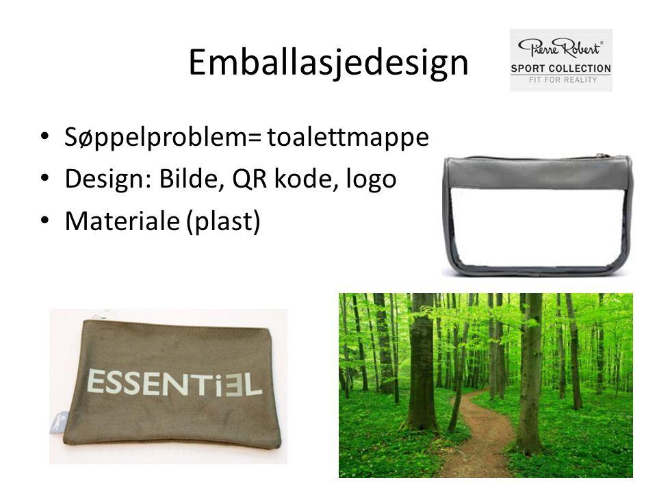 Emballasjedesign • Søppelproblem= toalettmappe • Design: Bilde, QR kode, logo • Materiale (plast)