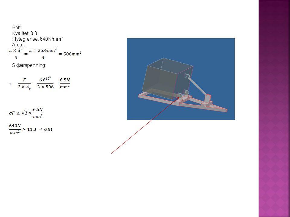 Bolt: Kvalitet: 8.8 Flytegrense: 640N/mm 2 Areal: Skjærspenning: