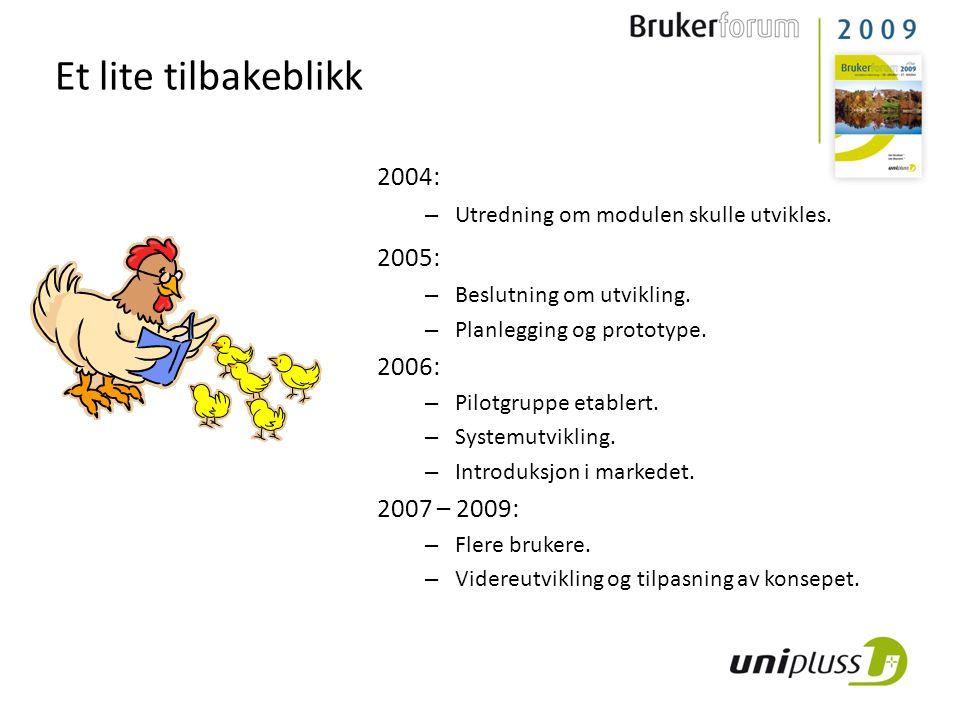 Et lite tilbakeblikk 2004: – Utredning om modulen skulle utvikles. 2005: – Beslutning om utvikling. – Planlegging og prototype. 2006: – Pilotgruppe et