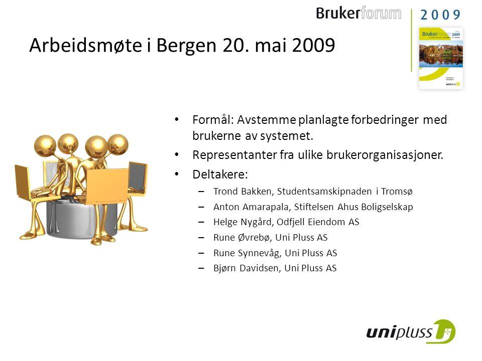 Arbeidsmøte i Bergen 20. mai 2009 • Formål: Avstemme planlagte forbedringer med brukerne av systemet. • Representanter fra ulike brukerorganisasjoner.