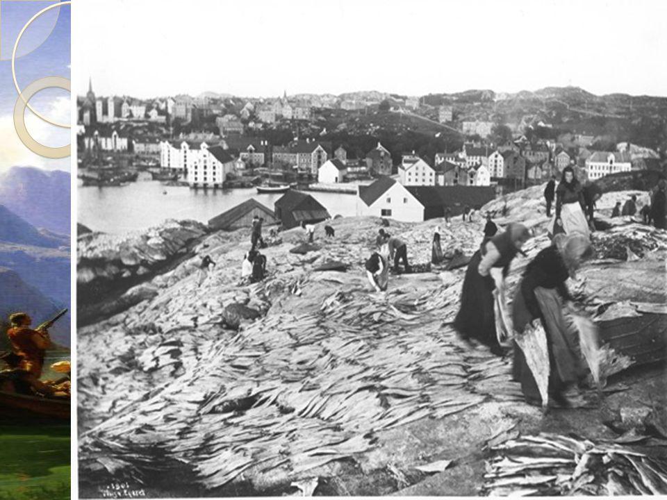 Fiske  Etter landbruket var fisket den viktigste næringen  Fiskebøndene drev vanligvis også med landbruk, da mye av fisket foregikk vinter og vår  Det ble en økning av mennesker som måtte bearbeide og transportere fisken til byene  Dette førte til at mange kvinner kom ut i arbeidslivet  Fisk ble Norges viktigste eksportvare