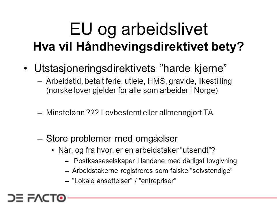 EU og arbeidslivet Hva vil Håndhevingsdirektivet bety.