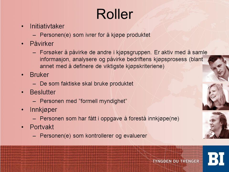 Roller •Initiativtaker –Personen(e) som ivrer for å kjøpe produktet •Påvirker –Forsøker å påvirke de andre i kjøpsgruppen. Er aktiv med å samle inform