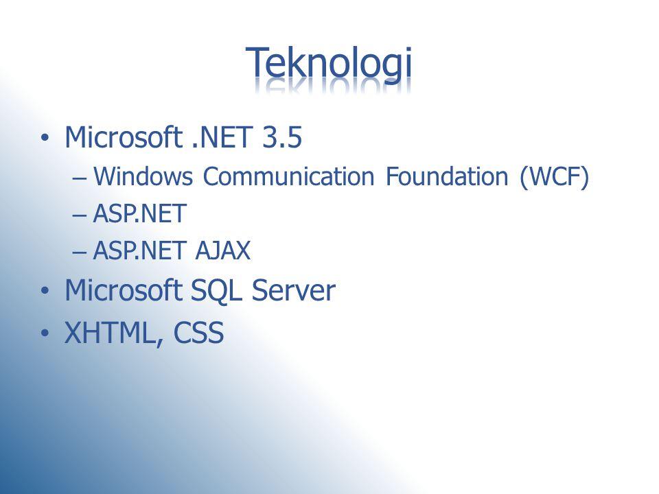 • Microsoft.NET 3.5 – Windows Communication Foundation (WCF) – ASP.NET – ASP.NET AJAX • Microsoft SQL Server • XHTML, CSS