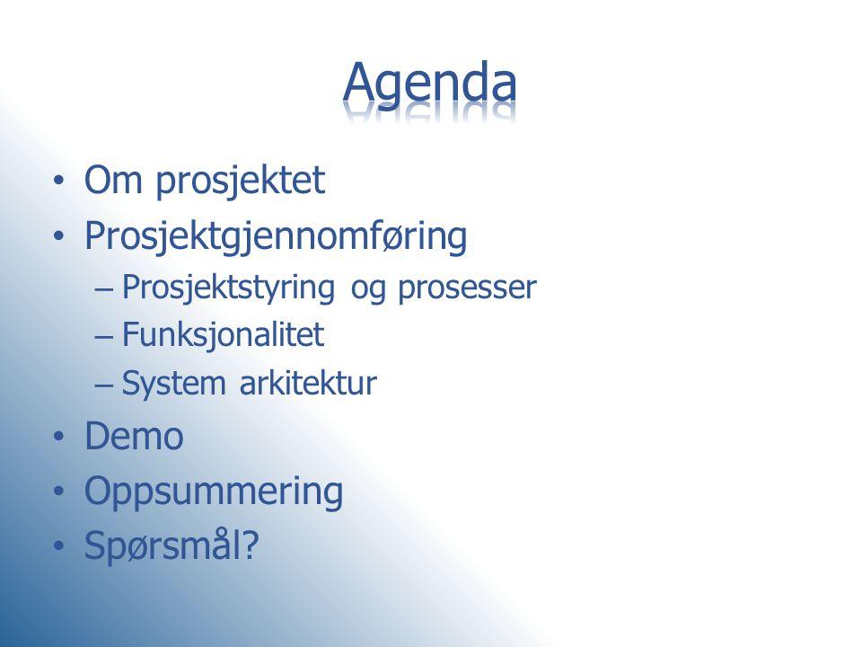 • Om prosjektet • Prosjektgjennomføring – Prosjektstyring og prosesser – Funksjonalitet – System arkitektur • Demo • Oppsummering • Spørsmål?