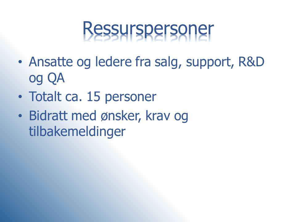 • Ansatte og ledere fra salg, support, R&D og QA • Totalt ca. 15 personer • Bidratt med ønsker, krav og tilbakemeldinger
