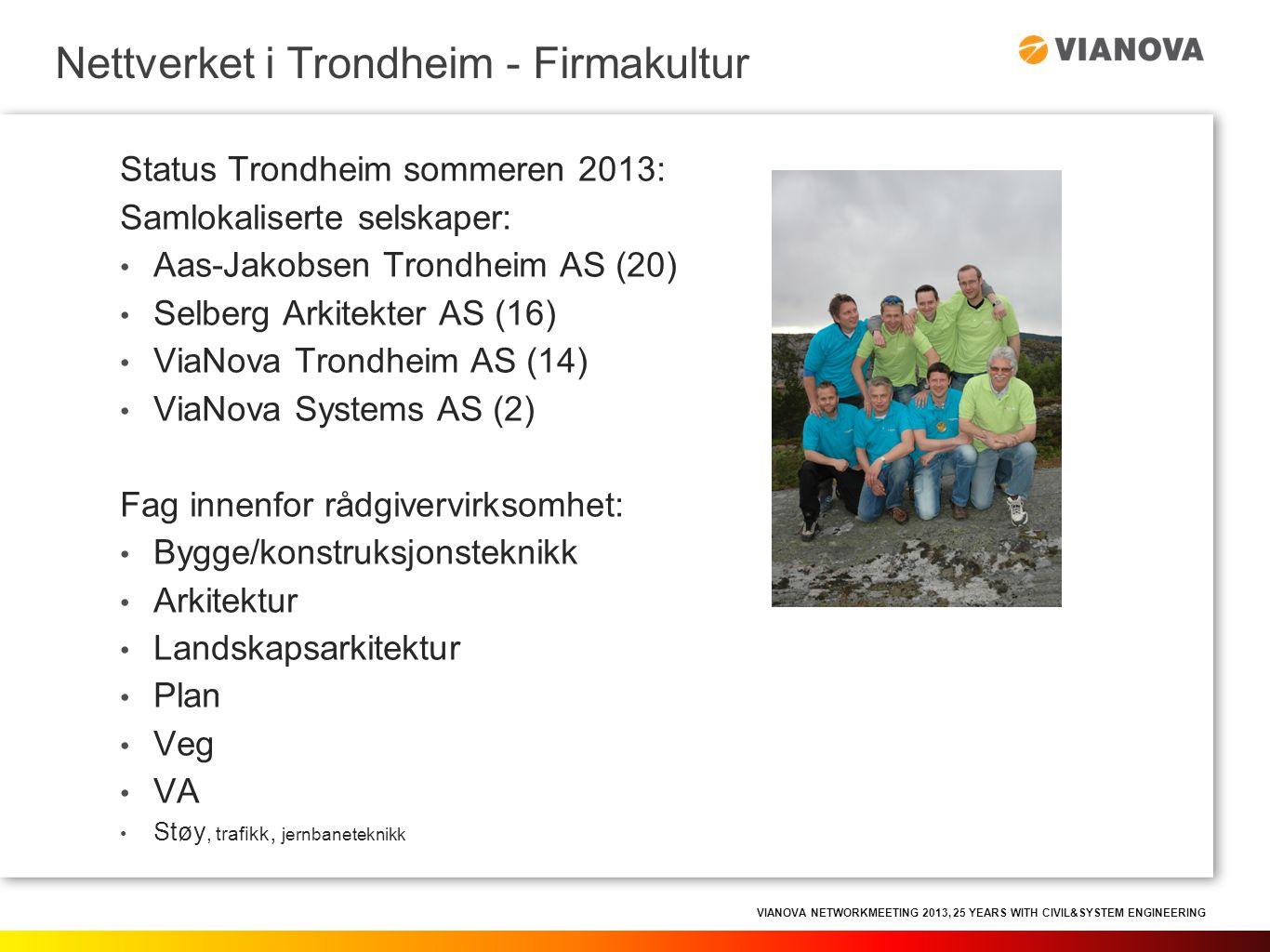 VIANOVA NETWORKMEETING 2013, 25 YEARS WITH CIVIL&SYSTEM ENGINEERING Knoppskytingen i Trondheim kunne ikke skjedd uten firmakultur.
