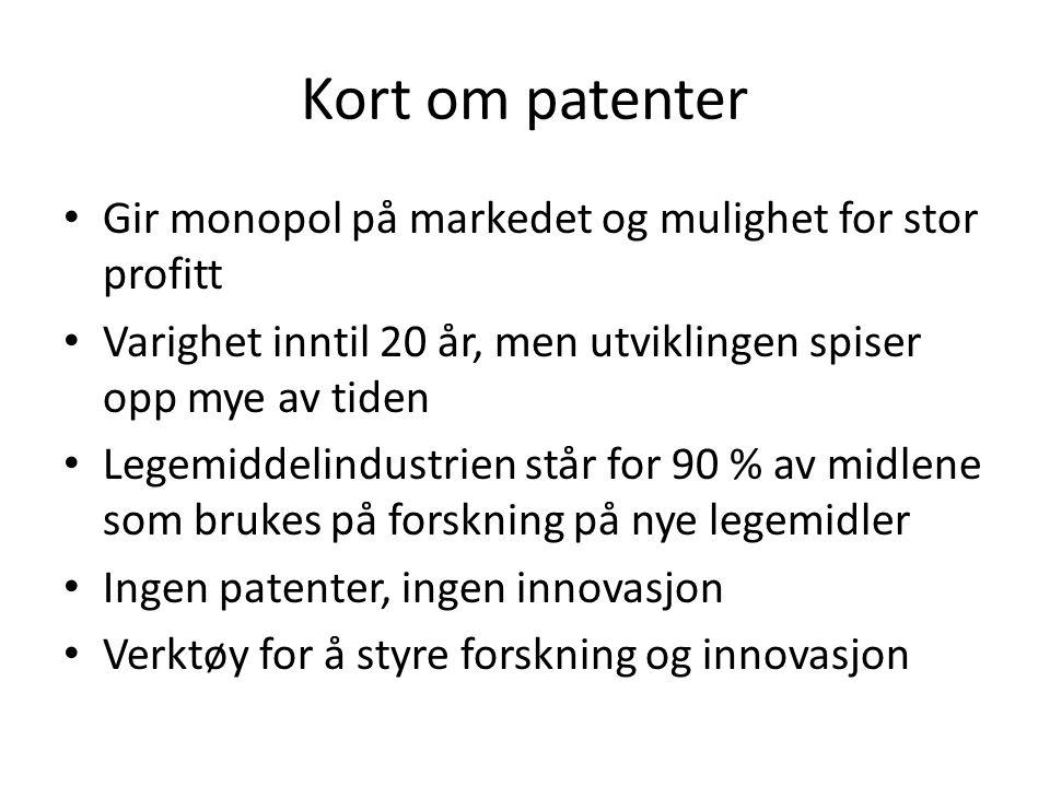 Kort om patenter • Gir monopol på markedet og mulighet for stor profitt • Varighet inntil 20 år, men utviklingen spiser opp mye av tiden • Legemiddeli