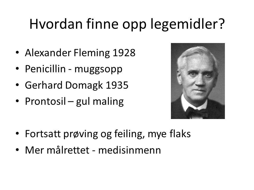 Hvordan finne opp legemidler? • Alexander Fleming 1928 • Penicillin - muggsopp • Gerhard Domagk 1935 • Prontosil – gul maling • Fortsatt prøving og fe