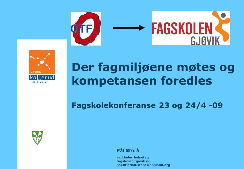 Der fagmiljøene møtes og kompetansen foredles Fagskolekonferanse 23 og 24/4 -09 Pål Storå avd.leder helsefag fagskolen.gjovik.no pal.kristian.stora@oppland.org