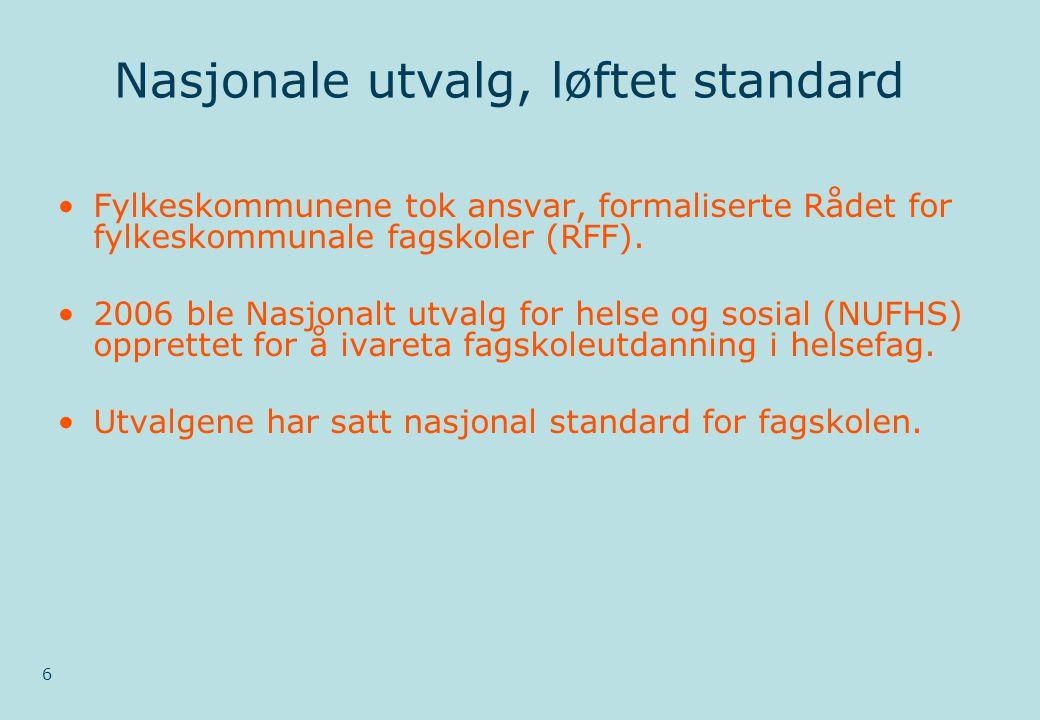 Nasjonale utvalg, løftet standard 6 •Fylkeskommunene tok ansvar, formaliserte Rådet for fylkeskommunale fagskoler (RFF).