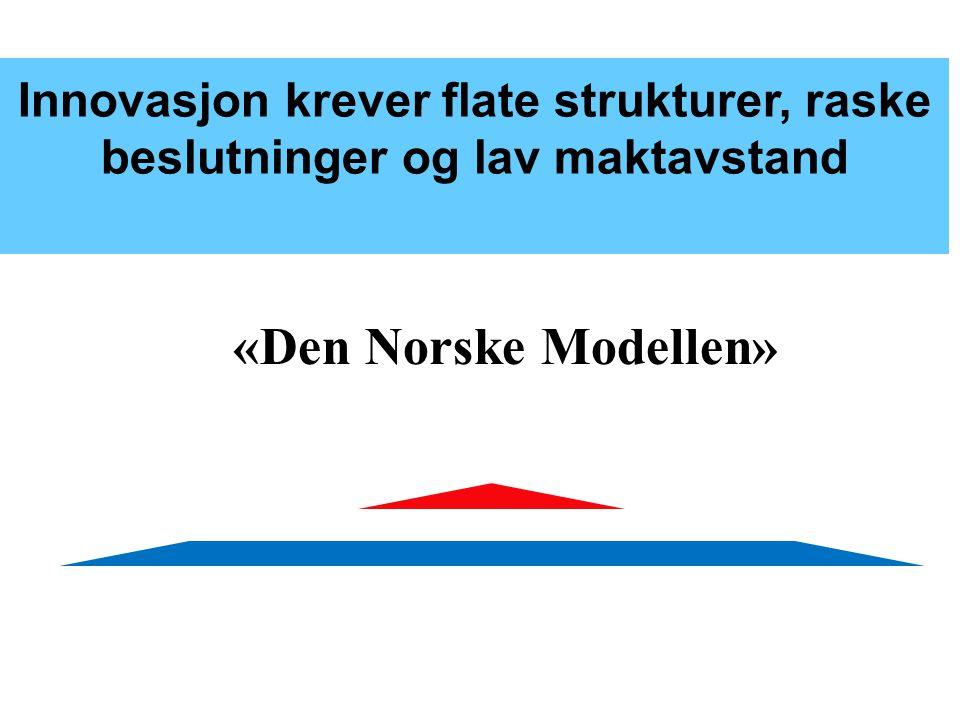 Innovasjon krever flate strukturer, raske beslutninger og lav maktavstand «Den Norske Modellen»