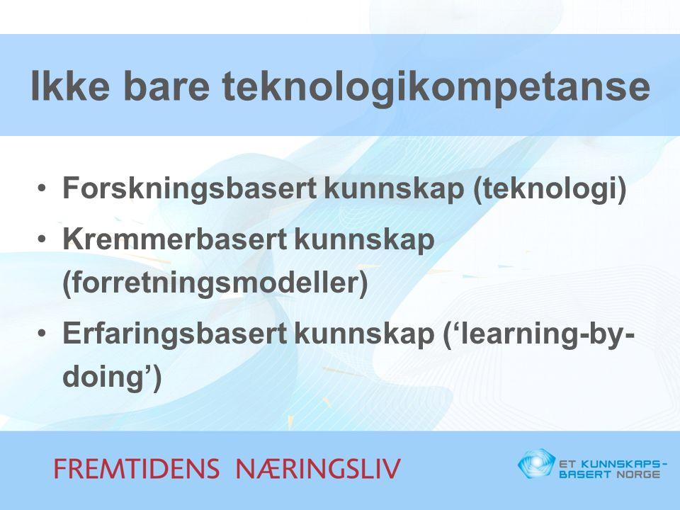 Ikke bare teknologikompetanse •Forskningsbasert kunnskap (teknologi) •Kremmerbasert kunnskap (forretningsmodeller) •Erfaringsbasert kunnskap ('learnin