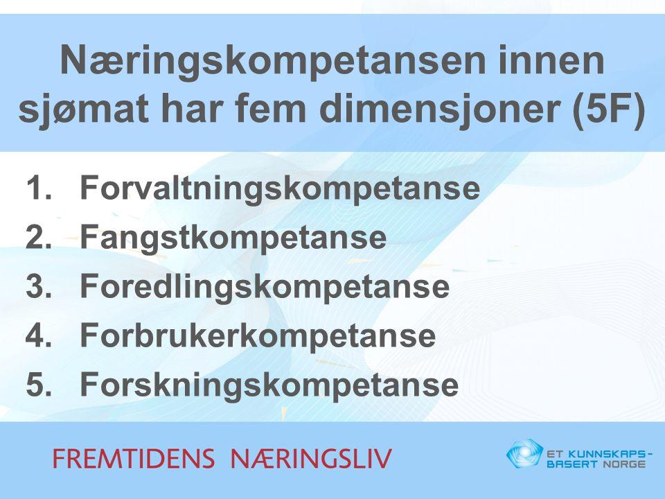 Næringskompetansen innen sjømat har fem dimensjoner (5F) 1.Forvaltningskompetanse 2.Fangstkompetanse 3.Foredlingskompetanse 4.Forbrukerkompetanse 5.Fo