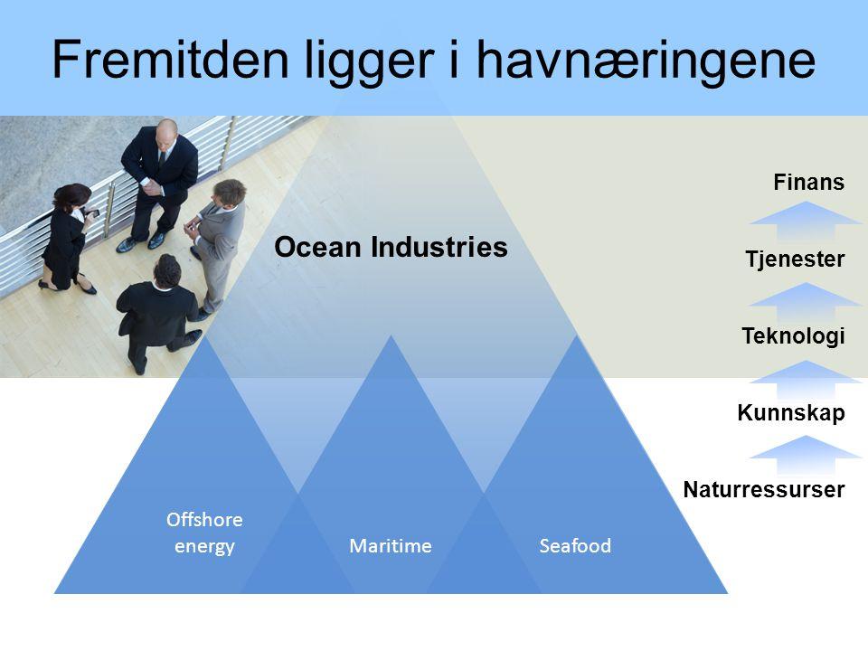 En kunnskapsbasert sjømatnæring 1.Norge har en unik global posisjon innen havnæringene: Offshore, Maritim, Sjømat 2.Konkurransekraften i sjømatnæringen kommer fra Ressursallmenningen og Kunnskapsallmenningen 3.Kunnskapsallmenningen kombinerer forskningsbasert og erfaringsbasert kompetanse 4.Kunnskapsallmenningen må gjødsles, lukes, høstes og omstilles