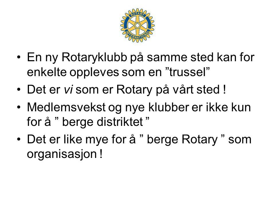 •En ny Rotaryklubb på samme sted kan for enkelte oppleves som en trussel •Det er vi som er Rotary på vårt sted .