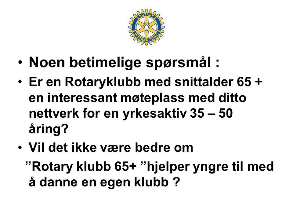 •Noen betimelige spørsmål : •Er en Rotaryklubb med snittalder 65 + en interessant møteplass med ditto nettverk for en yrkesaktiv 35 – 50 åring.