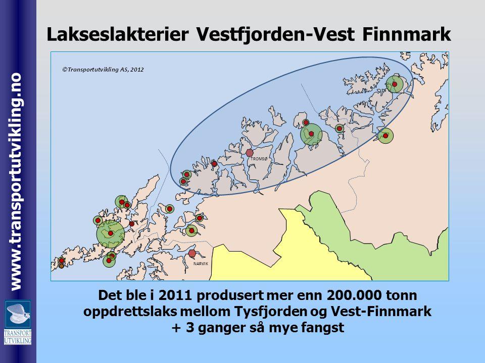 www.transportutvikling.no Det ble i 2011 produsert mer enn 200.000 tonn oppdrettslaks mellom Tysfjorden og Vest-Finnmark + 3 ganger så mye fangst Laks