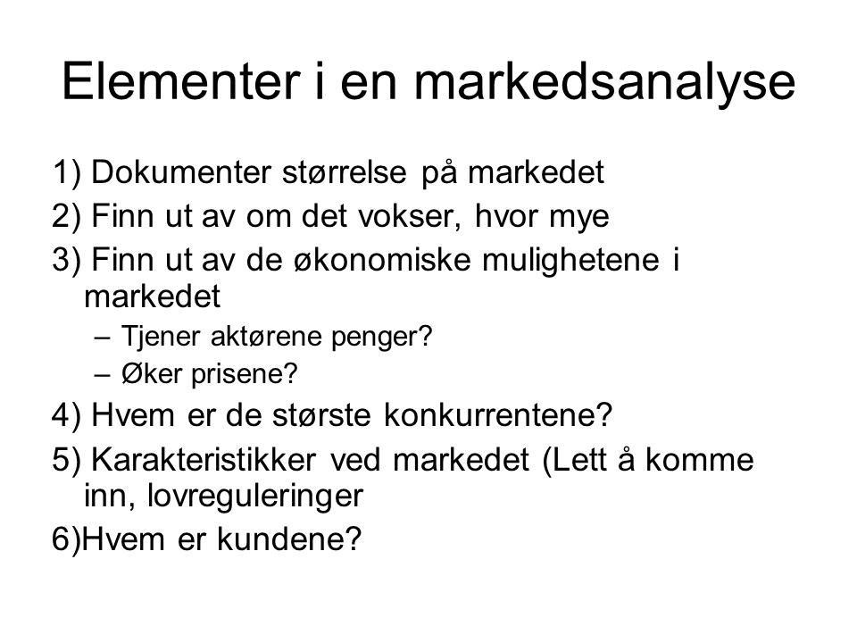 Elementer i en markedsanalyse 1) Dokumenter størrelse på markedet 2) Finn ut av om det vokser, hvor mye 3) Finn ut av de økonomiske mulighetene i mark