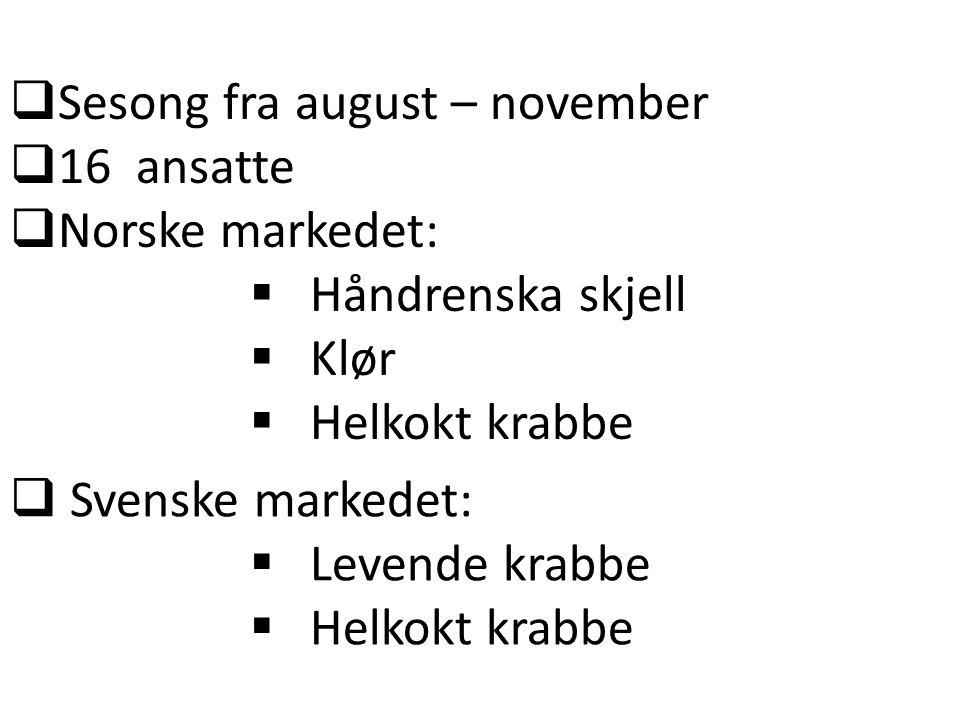  Sesong fra august – november  16 ansatte  Norske markedet:  Håndrenska skjell  Klør  Helkokt krabbe  Svenske markedet:  Levende krabbe  Helk