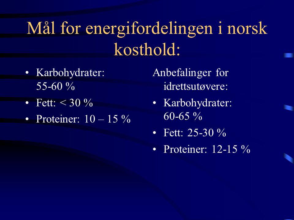 Energi og energibehov •Behovet for energi er avhengig av alder, kjønn og det fysiske anstrengelsesnivået. •Barn 6 – 9 år: 7700 kJ i døgnet •Voksne: me