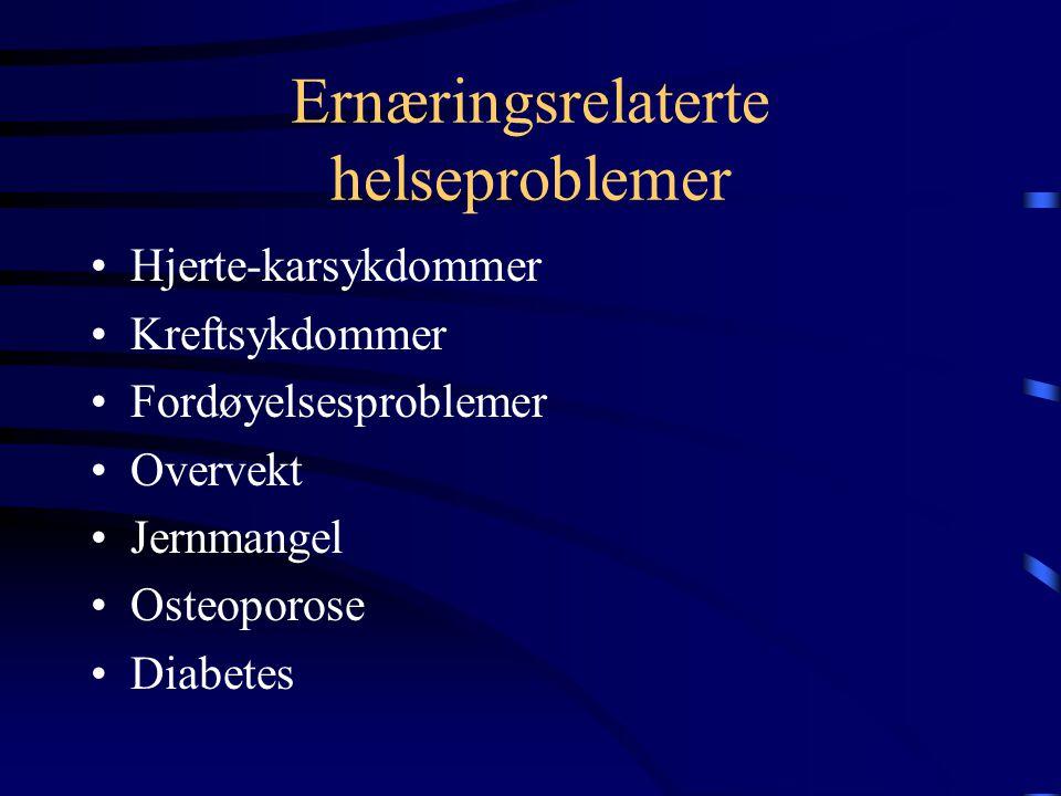 Ernæringsrelaterte helseproblemer Kostholdet har mye å si for flere av de viktigste helseproblemene i Norge, som for eksempel hjerte-karsykdommer og k