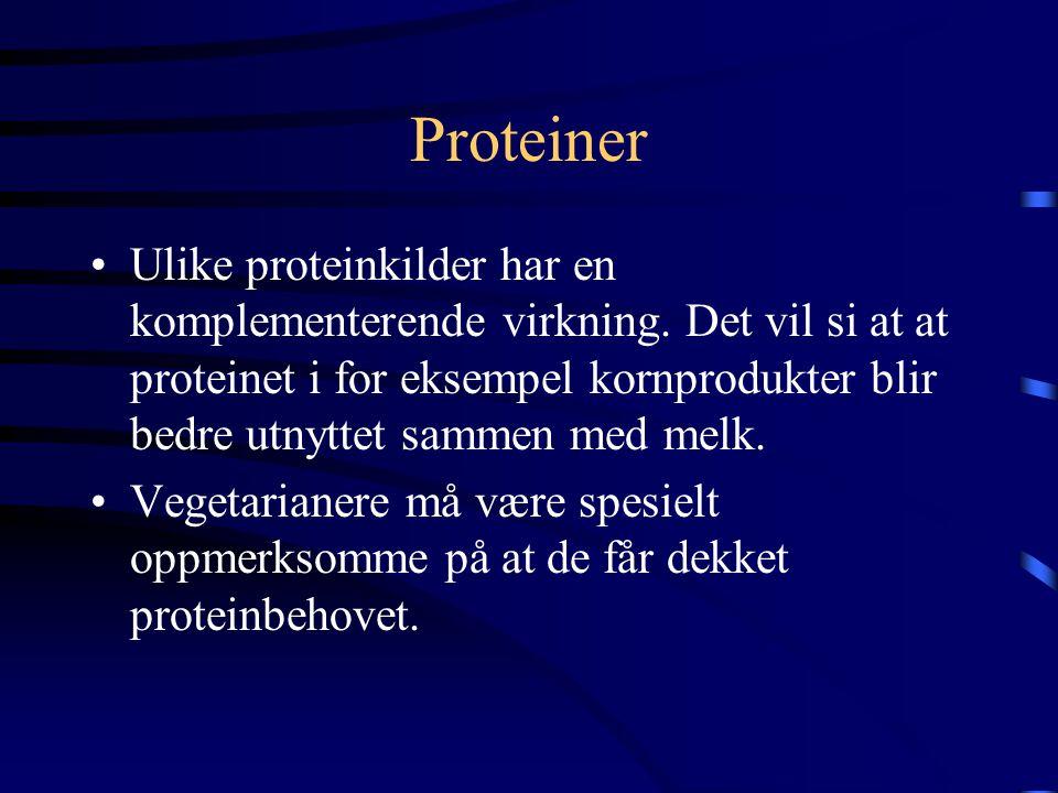 Proteiner Animalsk protein: •Fra kjøtt, fjærfe, fisk, egg, melkeprodukter og ost •Har bedre kvalitet og utnyttes bedre i kroppen enn vegetabilsk prote