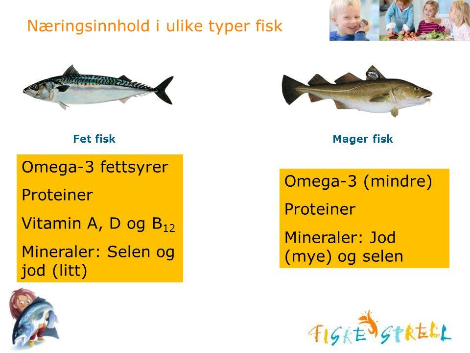 Næringsinnhold i ulike typer fisk Fet fiskMager fisk Omega-3 fettsyrer Proteiner Vitamin A, D og B 12 Mineraler: Selen og jod (litt) Omega-3 (mindre)